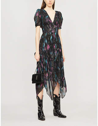 The Kooples V-neck abstract-print crepe midi dress