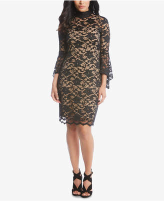 Karen Kane Lace Bell-Sleeve Sheath Dress