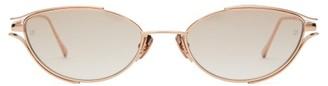 Linda Farrow Winged Slender Cat Eye Metal Sunglasses - Womens - Light Pink