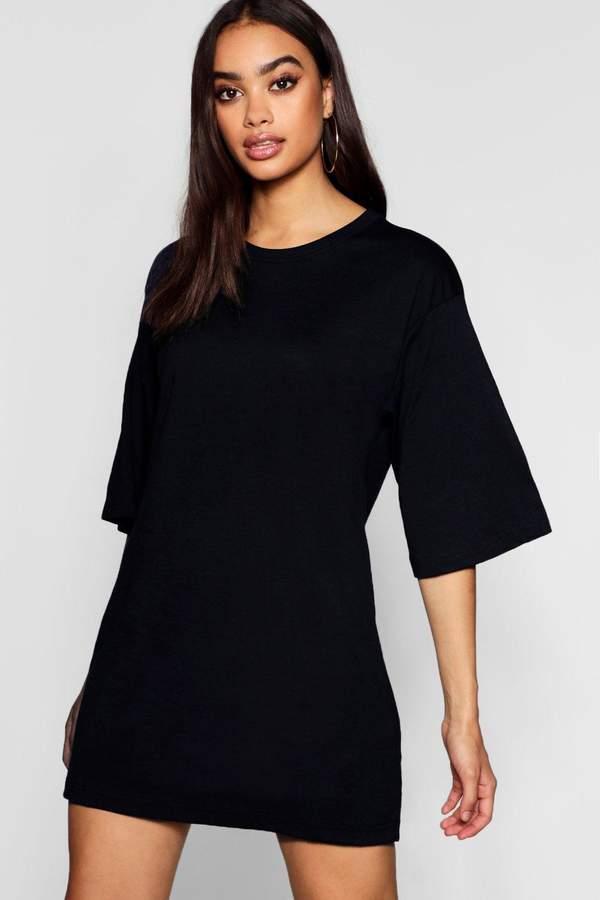 Cotton Oversized 3/4 Sleeve T-Shirt Dress