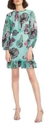 Cynthia Rowley Inverness Metallic Fish Blouson-Sleeve Dress