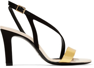 Lanvin - Metallic Leather And Satin Sandals - Black $795 thestylecure.com