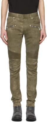 Balmain Green Vintage Destroy Effect Biker Jeans
