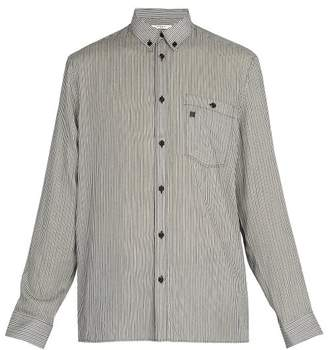 Givenchy Point Collar Striped Shirt - Mens - Black White