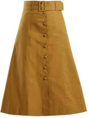 Sea Belted A-line cotton-blend midi skirt