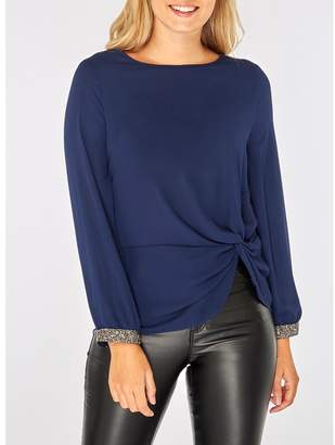 Dorothy Perkins - Navy Embellished Cuff Top