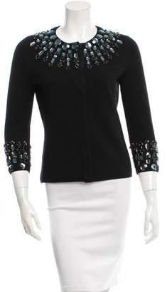 Tory Burch Jewel Embellished Wool Cardigan