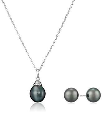 TARA Pearls Natural Color Tahitian Pearl Stud Earrings and Pendant Set