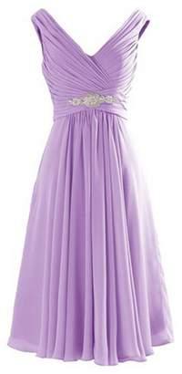 CaliaDress Women V Neck Ruffles Bridesmaid Dress Formal Prom Gowns Short C194LF US