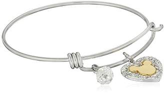 Disney Stainless Steel Catch Bangle with Plated Crystal Heart Mickey Mouse Head