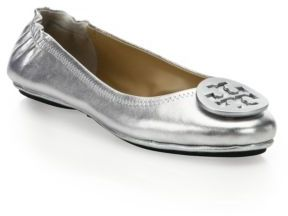 Tory Burch Minnie Travel Metallic Leather Ballet Flats $225 thestylecure.com