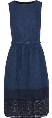 Oscar de la Renta Lace-Paneled Belted Cotton-Blend Tweed Dress