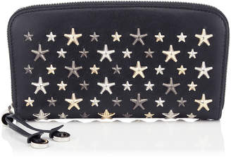 Jimmy Choo FILIPA Navy Leather Wallet with Metallic Multi Metal Stars