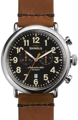 Shinola Men's 47mm Runwell Chronograph Men's Watch, Black/Tan