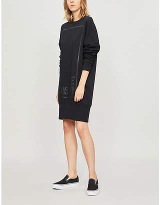 Love Moschino Metallic logo-print cotton-jersey dress