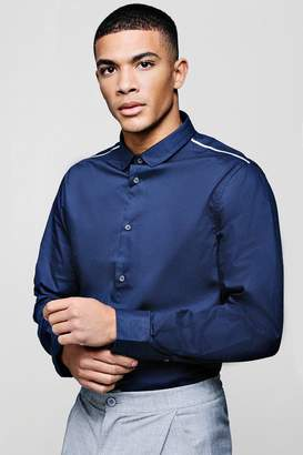 boohoo Slim Fit Smart Long Sleeve Shirt With Piping