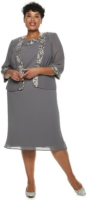Le Bos Plus Size Embroidered Dress & Jacket Set