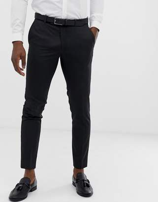 Moss Bros slim fit suit trouser in charcoal with stretch
