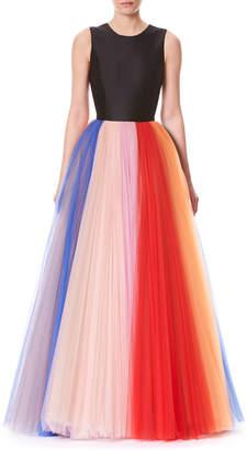 Carolina Herrera Sleeveless Evening Gown w/ Pleated Tulle Skirt