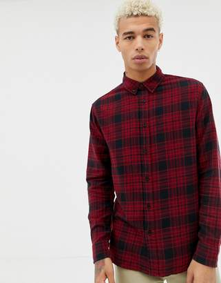 Bershka check shirt in red and black with button down collar