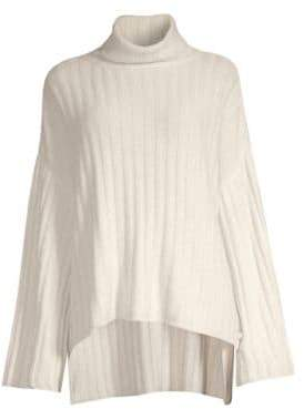 Milly Cashmere High-Low Turtleneck Sweater
