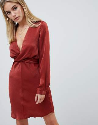 PrettyLittleThing hammered satin tie back dress in rust