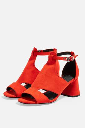 Topshop Womens Destiny Cut Out Shoe Boots - Red