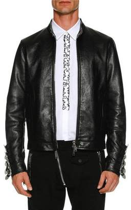 DSQUARED2 Leather Biker Jacket w/ Buckle Cuffs