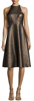 Halston Sleeveless Metallic Halter Jacquard Cocktail Dress