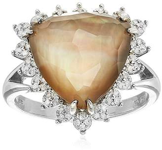 Mother of Pearl Sterling Clear Quartz Over Brown Mother-Of-Pearl Doublet Halo Diamond Ring (1/5 cttw