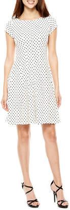 Danny & Nicole Short Sleeve Dots Fit & Flare Dress