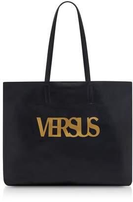 Versace Versus  Versus Golden Signature Black Leather Tote Bag