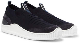 Ermenegildo Zegna Suede, Leather And Techmerino Mesh Slip-On Sneakers