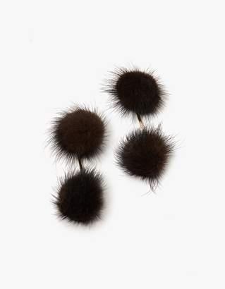 Tuleste Mink Double Pom Pom Earrings in Brown