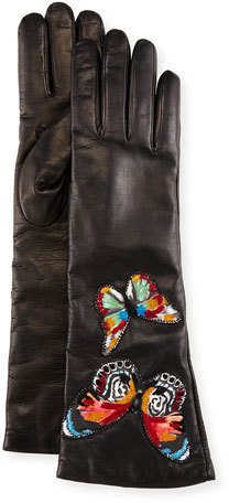 Valentino Valentino Embroidered Leather Gloves, Black