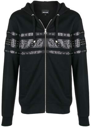 Just Cavalli eyelet panelled zipped hoodie