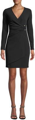 Bebe Long-Sleeve Crepe Faux-Wrap Dress