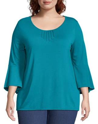 Just My Size Women's Plus Size Bell Sleeve Pin-tuck Top
