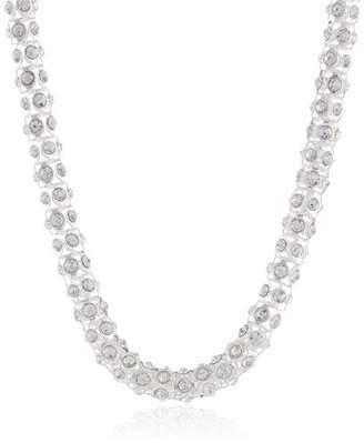Anne Klein Tone Crystal Glass Tubular Pave Collar Necklace