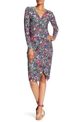 Rachel Roy Surplice V-Neck Floral Print Jersey Dress