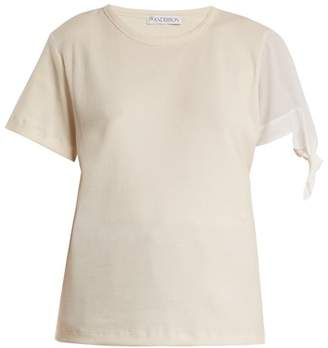Jw Anderson - Contrast Sleeve Ribbed Jersey T Shirt - Womens - Cream