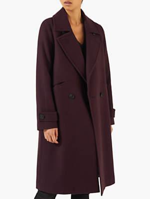 Virgin Wool Melange Coat, Wine