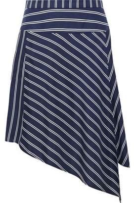 Joie Asymmetric Striped Silk-Satin Twill Mini Skirt