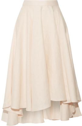 Miguelina - Gale Asymmetric Linen Midi Skirt - Pastel pink $270 thestylecure.com