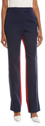 Calvin Klein Bicolor Straight-Leg Wool Pants
