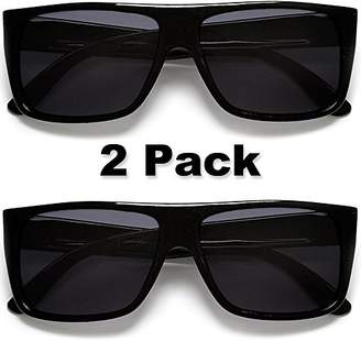 MJ EYEWEAR Classic Old School Eazy E Square Flat Top OG Locs Dark Lens Sunglasses (2 Pack )