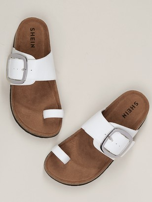 8976a77dd Shein Toe Band Buckle Strap Cork Footbed Slide Sandals