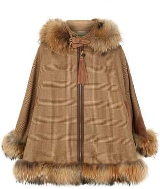 Holland Cooper Fur Trimmed Tweed Cape