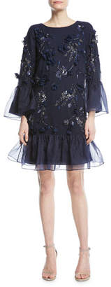 Marchesa Tunic-Cut Cocktail Dress with 3D Flowers & Organza Ruffles