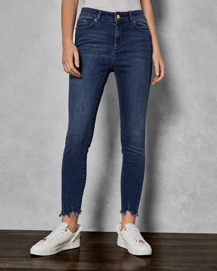 CATRINA Uneven raw hem skinny jeans